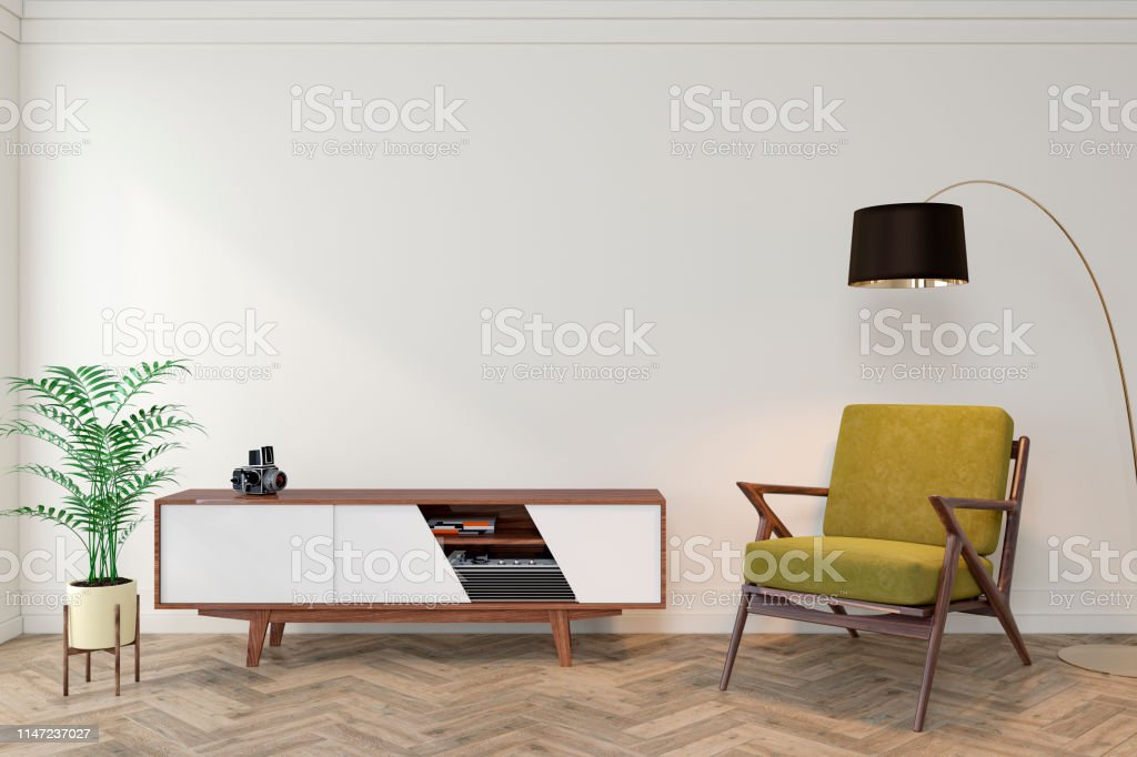 Tremendous Mid Century Modern Interior Empty Room With White Wall Gmtry Best Dining Table And Chair Ideas Images Gmtryco