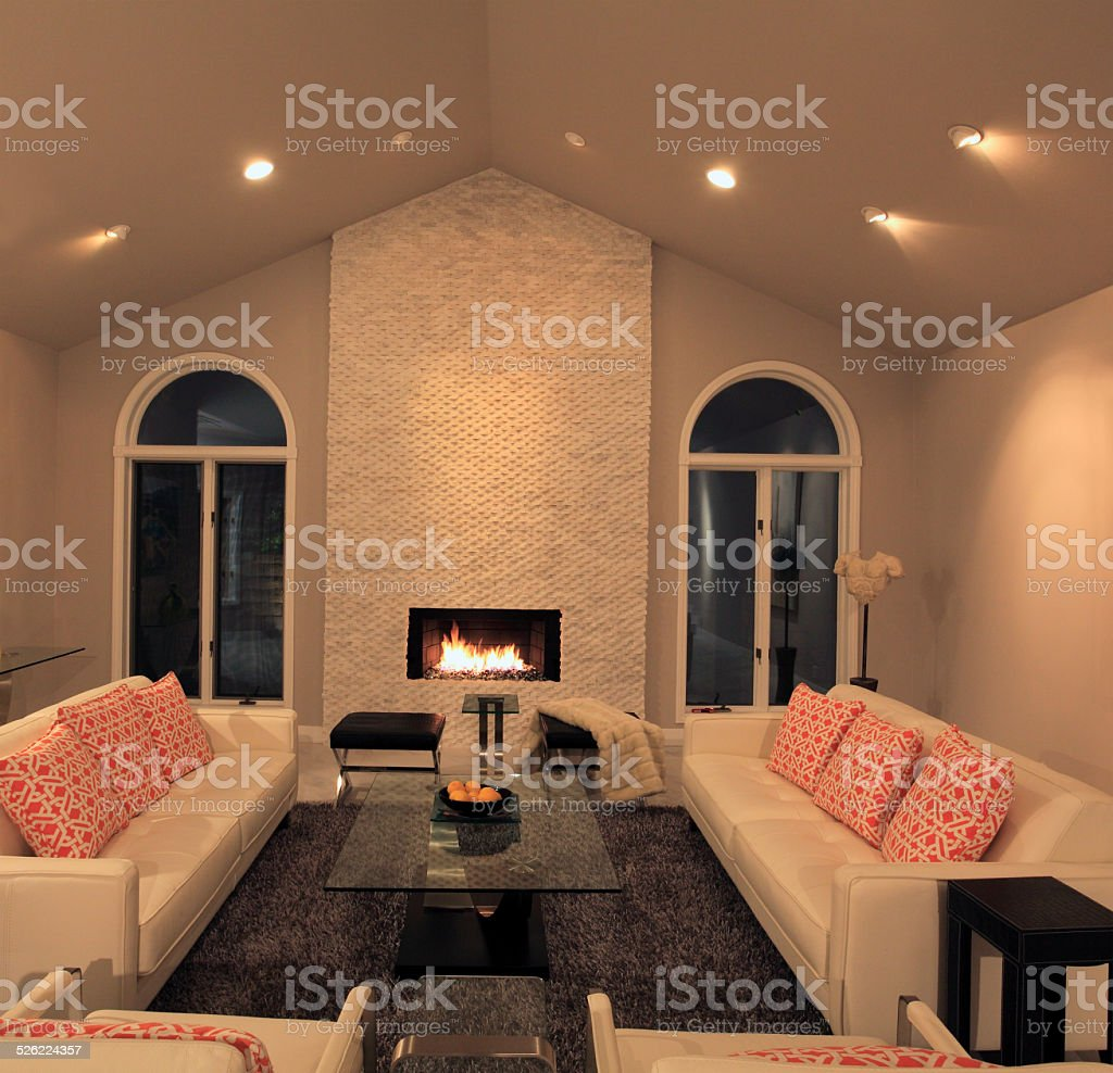 Mid Century Modernism With White Stone Fireplace stock photo
