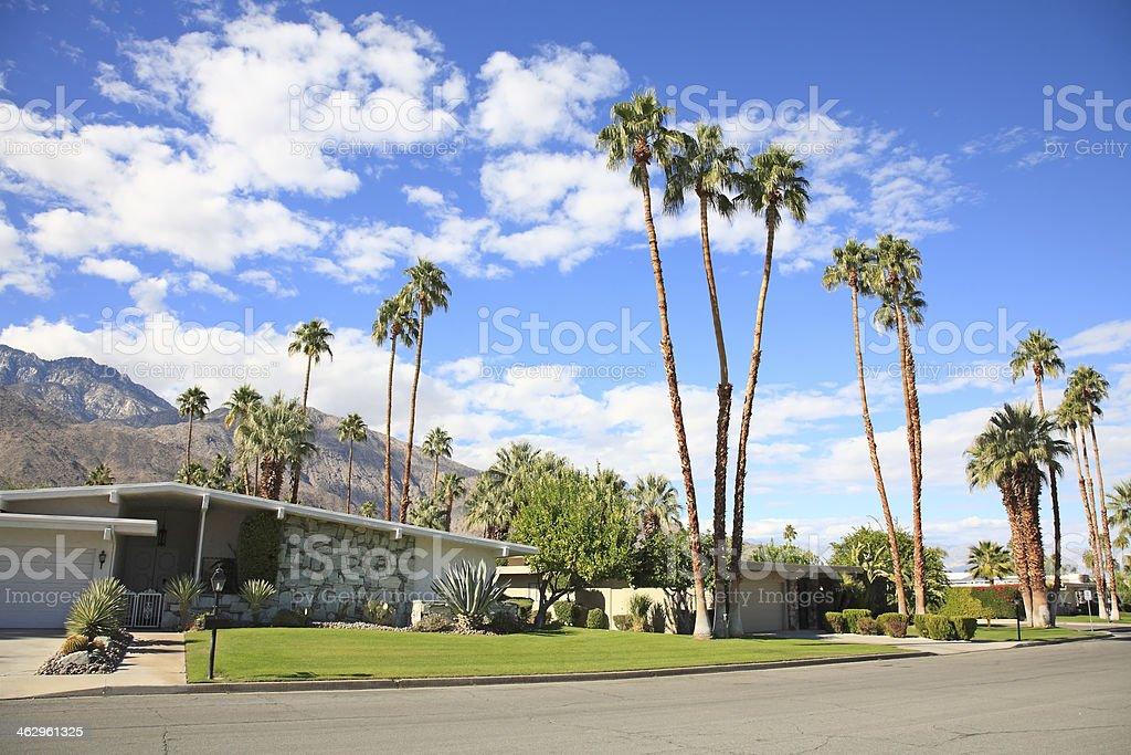Mid Century Residential Street stock photo