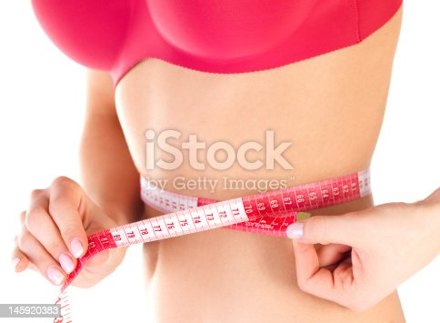 1163494373 istock photo Mid section view of a woman measuring her waist 145920383