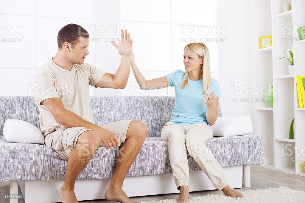 Mid-adult couple arguing. royalty-free stock photo