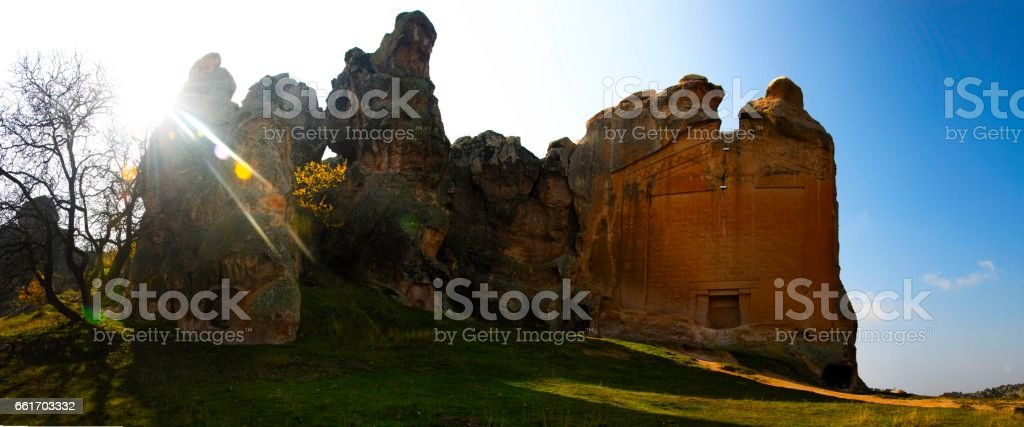 Midas Monument of Ancient Midas City in Yazilikaya, Eskisehir, stock photo