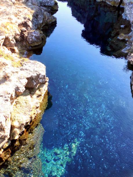 Mid-Atlantic Rift Crevice in Pingvellir National Park, Iceland stock photo