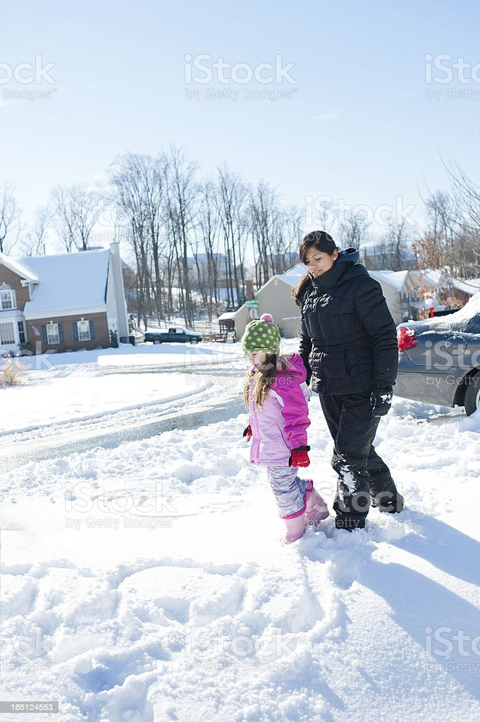 Mid-Atlantic Winter Scene with Young Girl and Au Pair stock photo