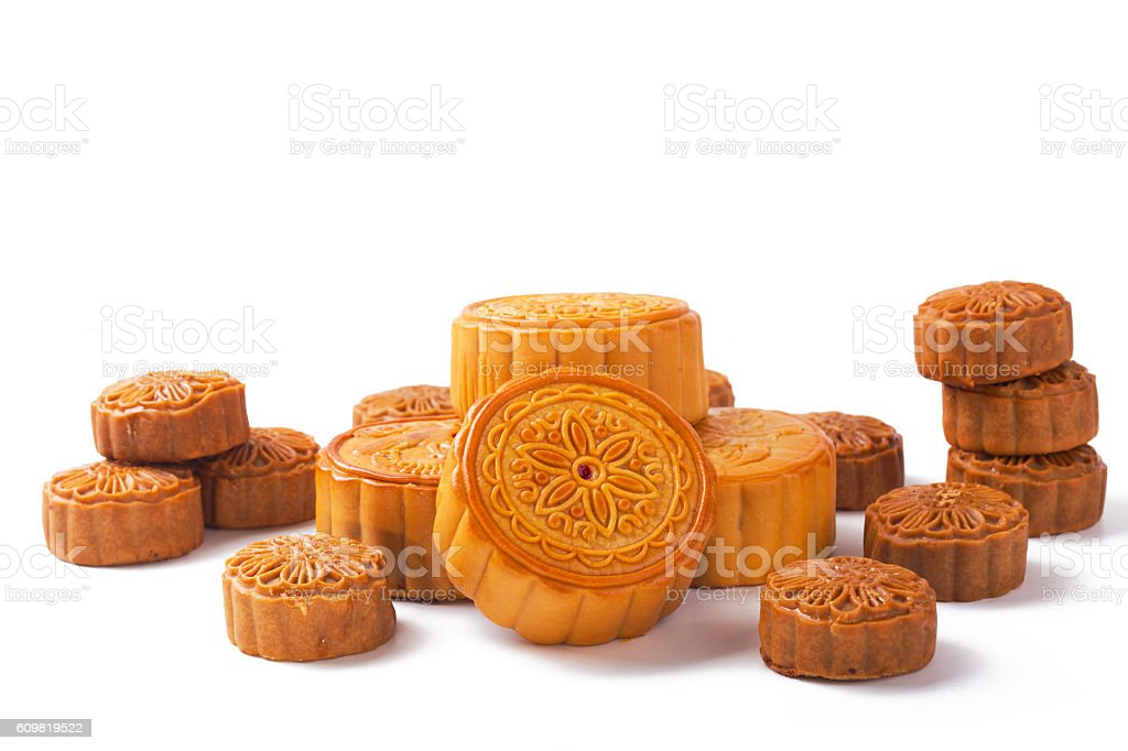 Mid-Autumn Festival mooncake isolated on white background with clipping path stock photo