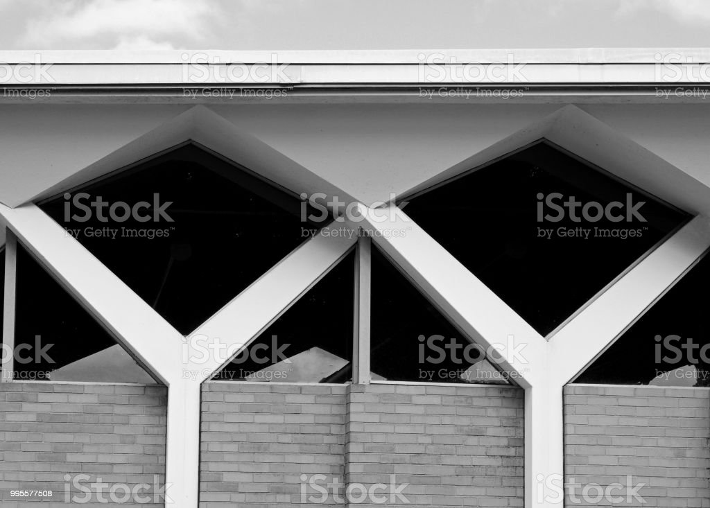 Mid-century modern architecture in black and white stock photo