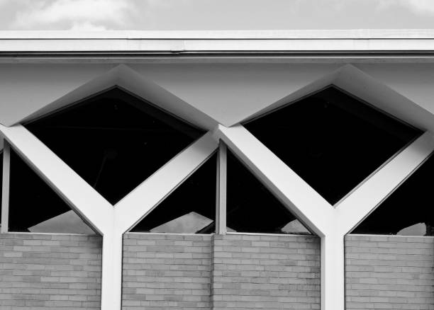 mid-century modern architecture in black and white - midcentury design stock photos and pictures