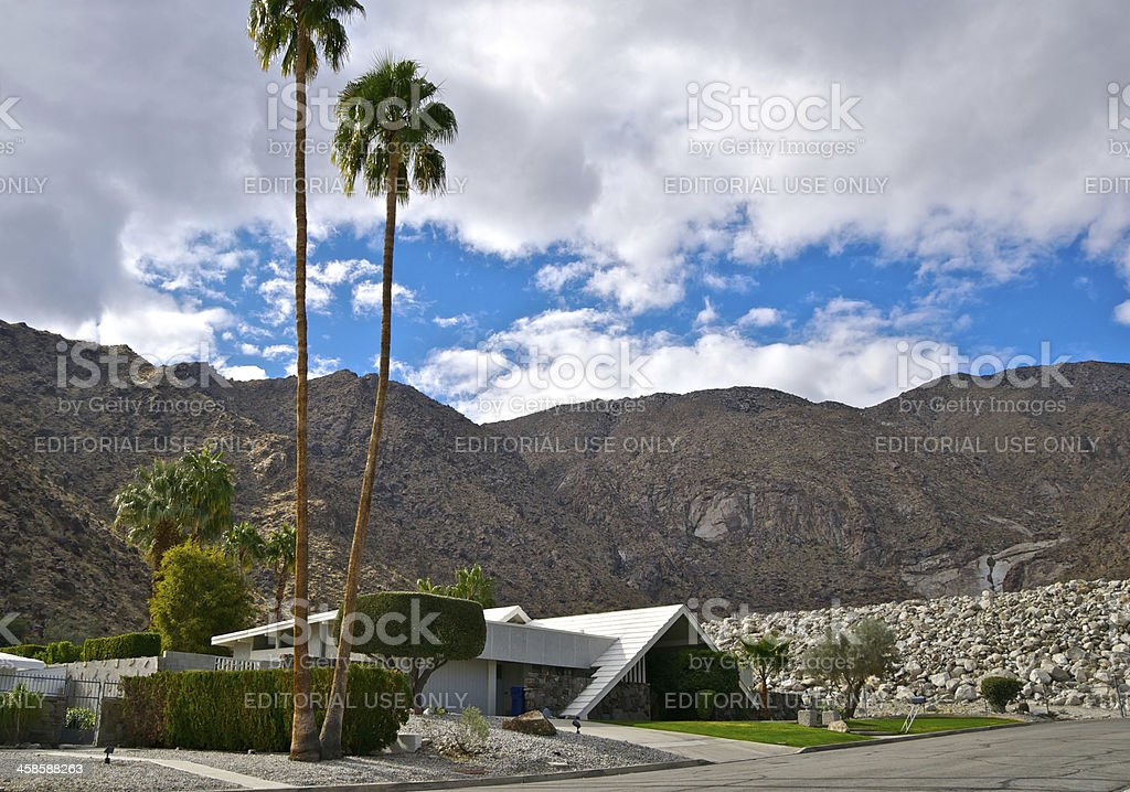 Mid-century modern home in Palm Springs, California stock photo