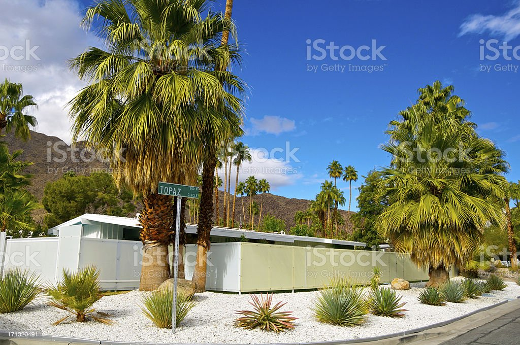 Mid-century modern homes in Palm Springs, Southern California stock photo