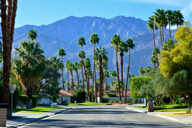 Mid-century modern homes, street scene in Palm Springs, Southern California, USA stock photo