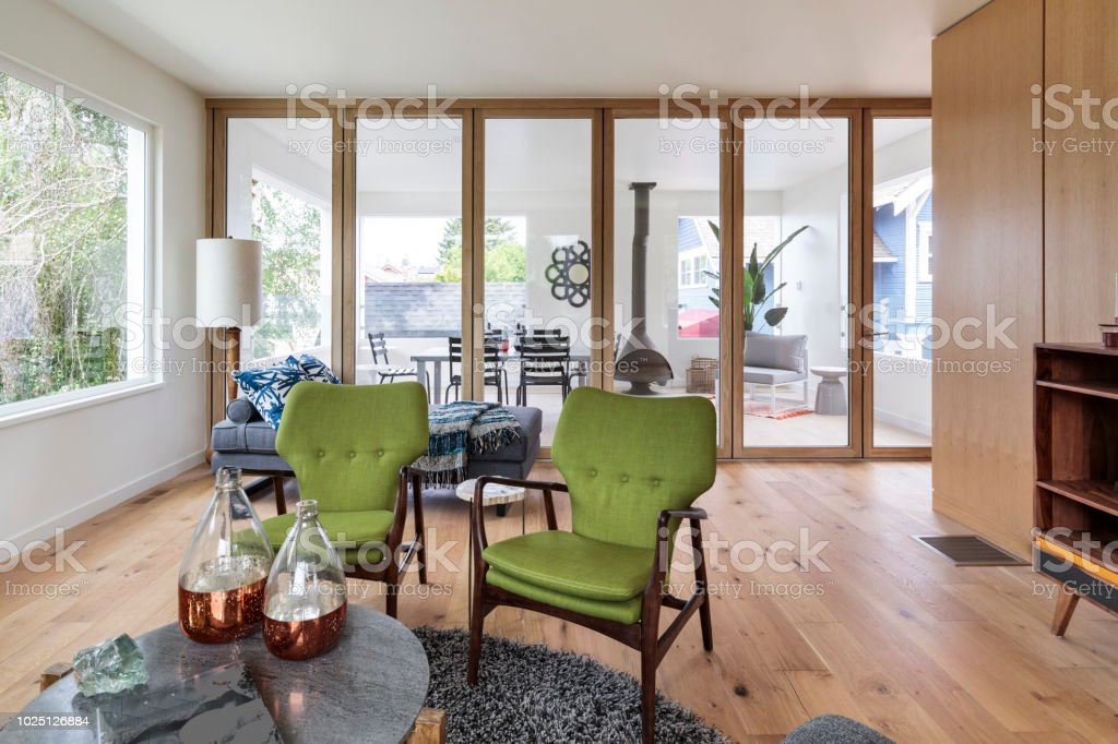 Mid-century Modern house living room interior stock photo