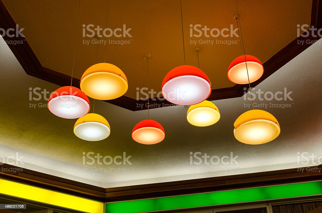Mid-century pendant lamps in mall stock photo