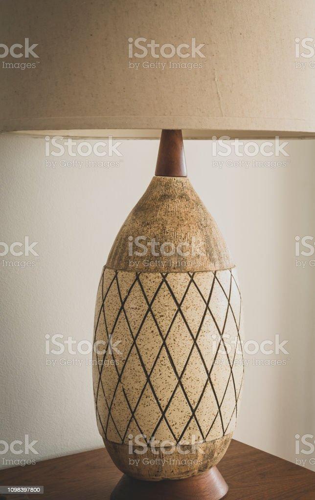 Mid-century table lamp stock photo