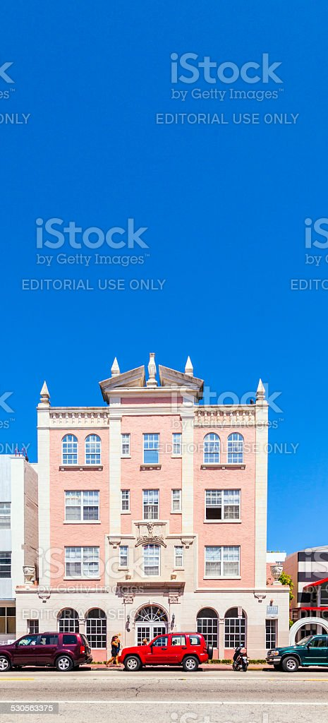 midday heat with art deco building at Ocean drive royalty-free stock photo