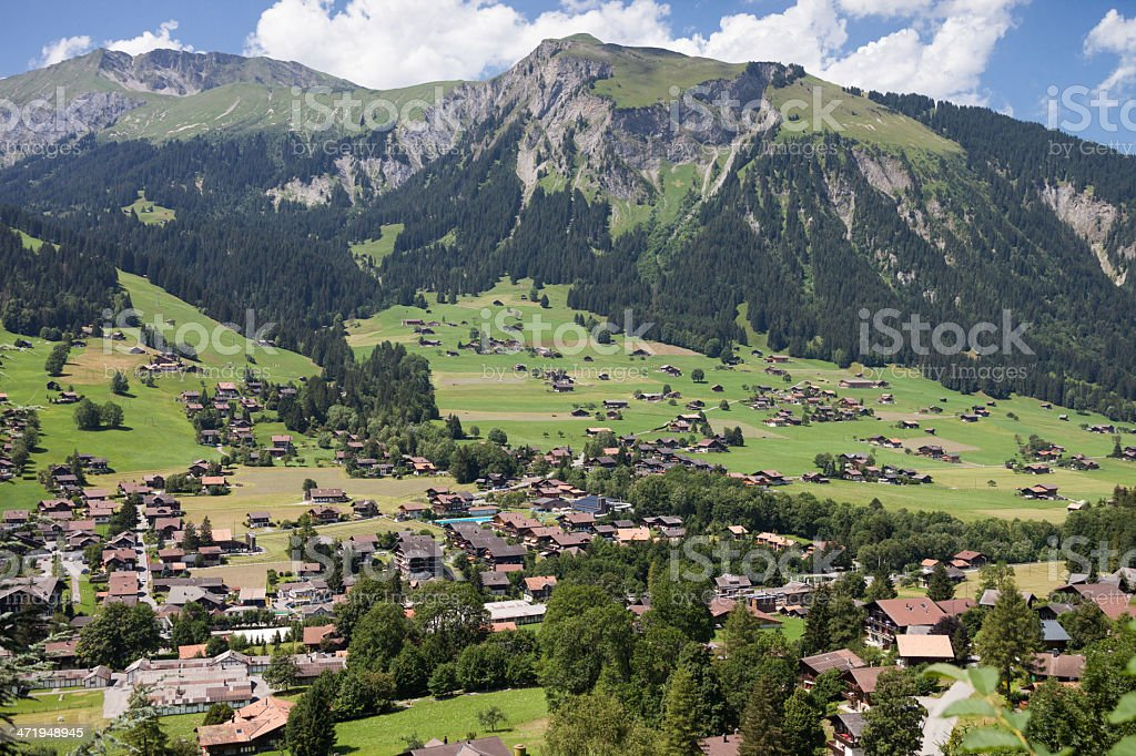 Midday scene in Swiss Mountain Village, Bernese Oberland royalty-free stock photo