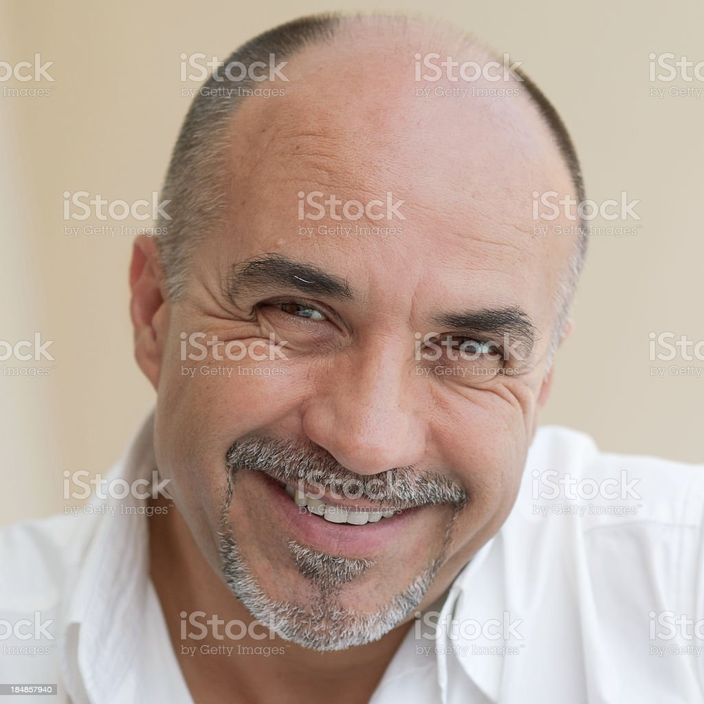 Middle age bald man smiling. royalty-free stock photo