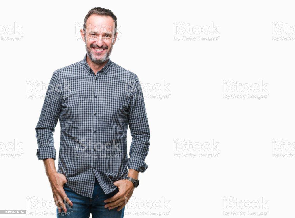 Middelbare leeftijd hoary senior man over geïsoleerde achtergrond met een gelukkig en cool glimlach op het gezicht. Gelukkig persoon. - Royalty-free Alleen mannen Stockfoto