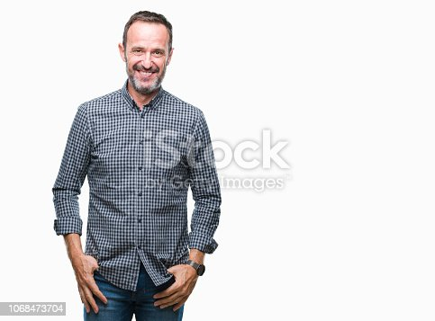 istock Middle age hoary senior man over isolated background with a happy and cool smile on face. Lucky person. 1068473704