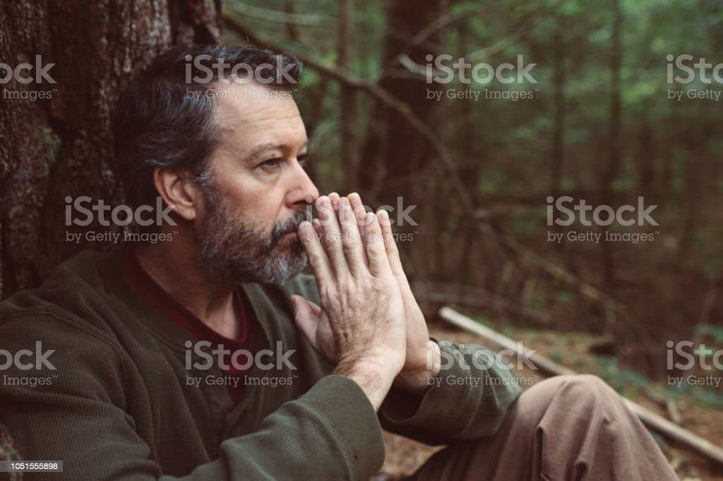 Middle Age Man Contemplating Life - Royalty-free 50-54 Years Stock Photo