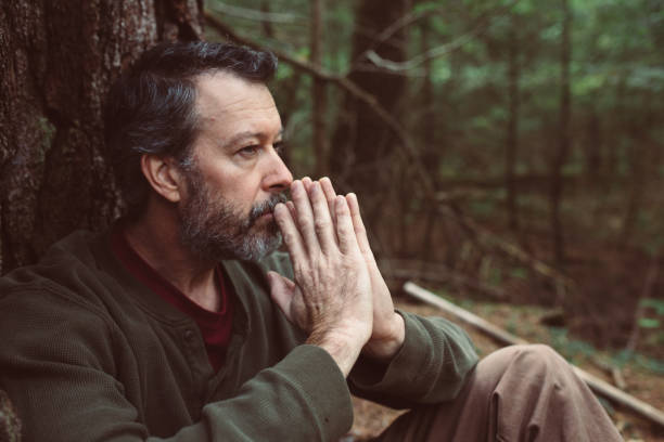 Middle Age Man Contemplating Life stock photo