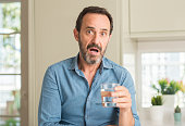 istock Middle age man drinking a glass of water scared in shock with a surprise face, afraid and excited with fear expression 1040455584