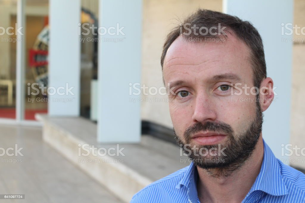 Middle age man on urban background stock photo