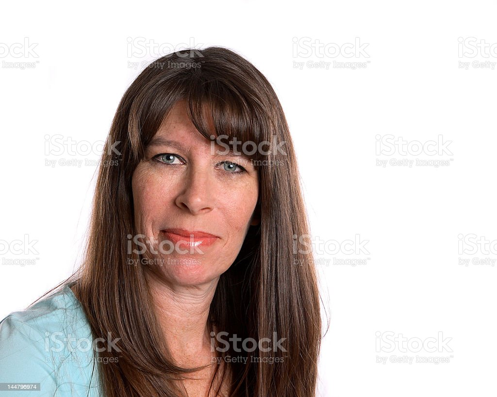 Middle Age Woman  on white background stock photo