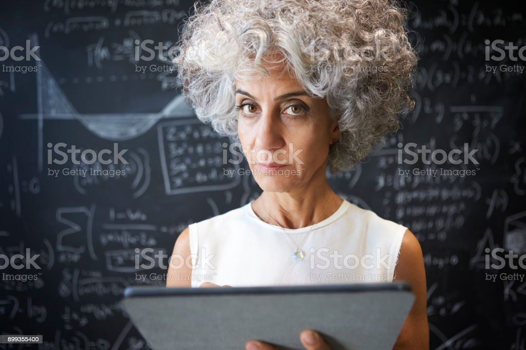 Middle aged academic woman using tablet looking to camera stock photo