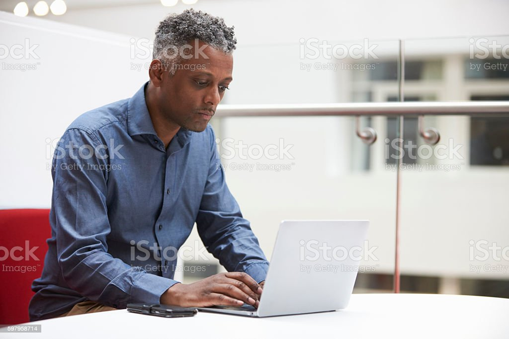 Middle aged black man using laptop in a modern interior stock photo