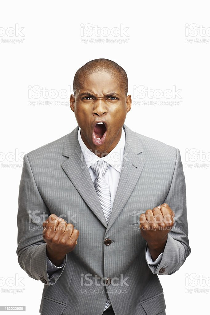 Middle aged business man screaming against white background royalty-free stock photo