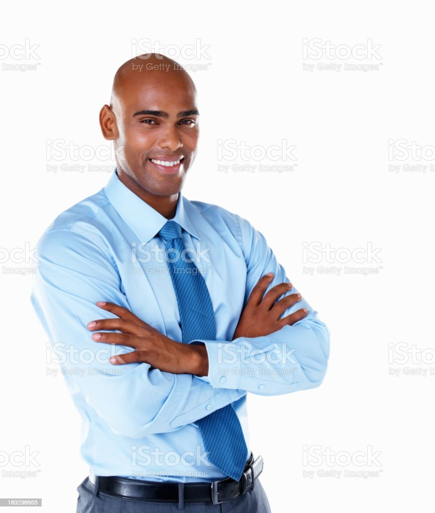 Middle aged business man with hands folded against white royalty-free stock photo