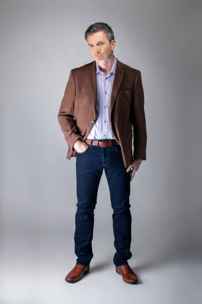 Middle Aged Businessman Posing with Mature Style Fashion stock photo