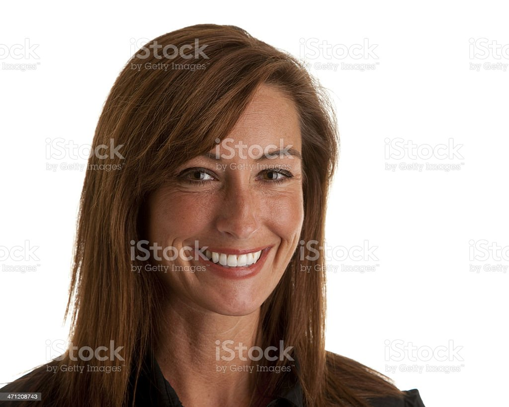 Middle Aged Caucasion Woman Has a Big Smile Closeup Headshot royalty-free stock photo
