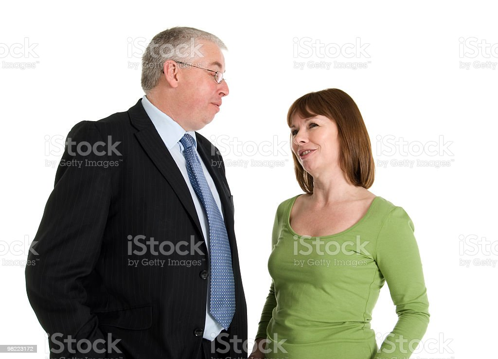 Middle Aged Couple Happily Talking royalty-free stock photo