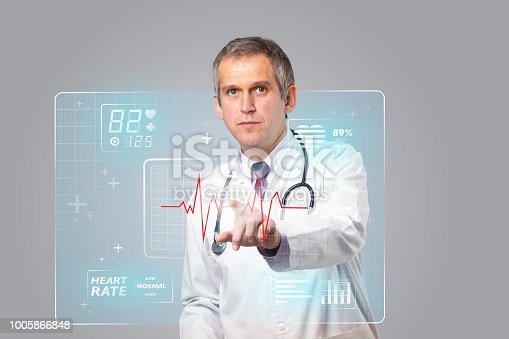 istock Middle aged doctor pressing modern medical type of button 1005866848