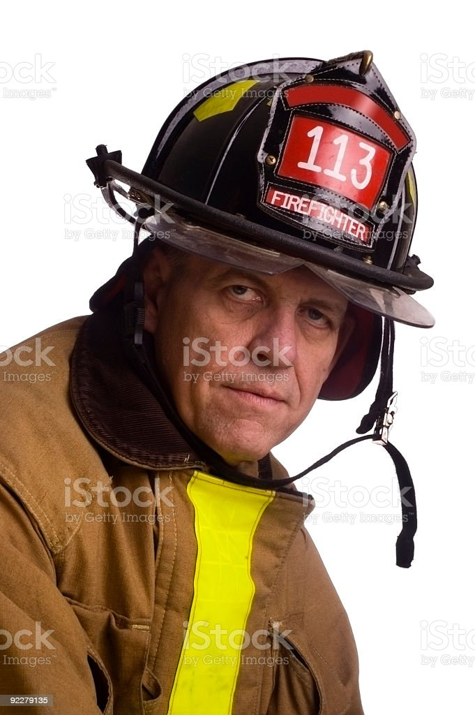 Middle aged fire fighter isolation stock photo