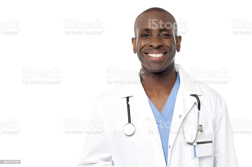 Middle aged happy male doctor stock photo