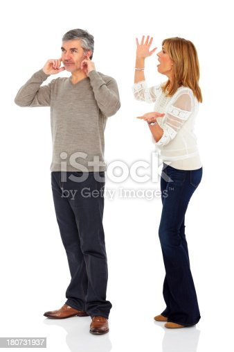 993706062 istock photo Middle aged husband wife arguing over white 180731937