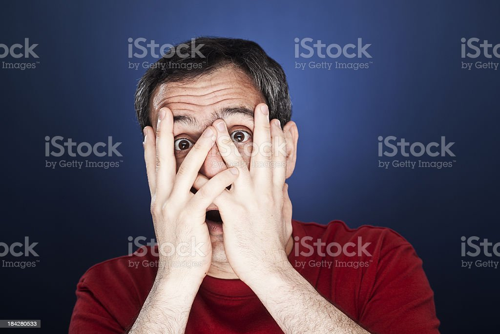 Middle aged man bewildered. stock photo