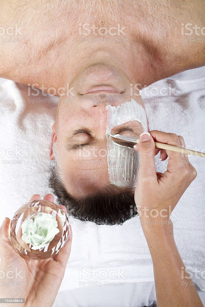 middle aged man facial mask royalty-free stock photo
