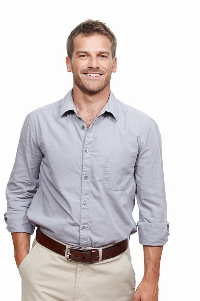 Middle aged man smiling stock photo