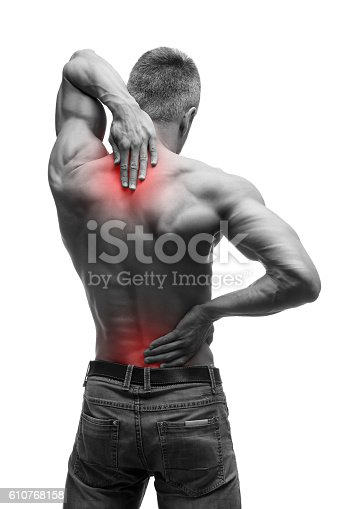 537234318istockphoto Middle aged man with back pain, muscular male body, isolated 610768158