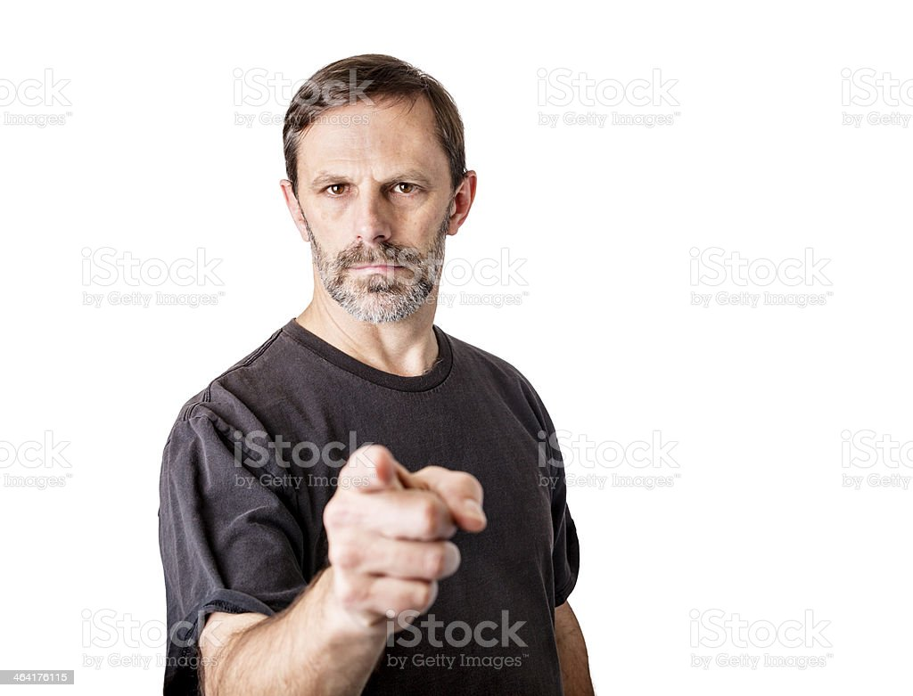 Middle aged man with beard pointing at the camera royalty-free stock photo