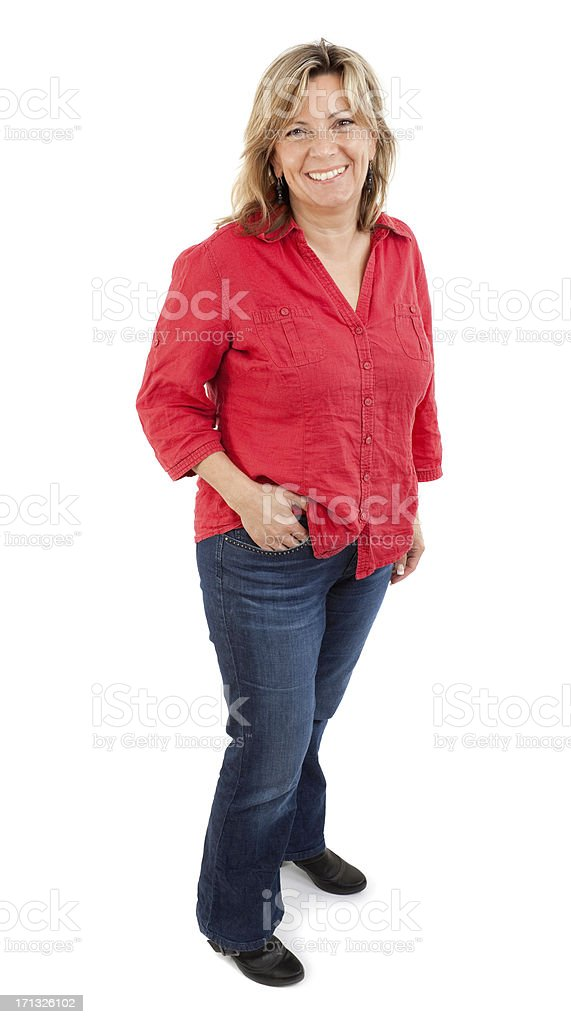 Middle aged pretty woman wearing xxl clothes royalty-free stock photo