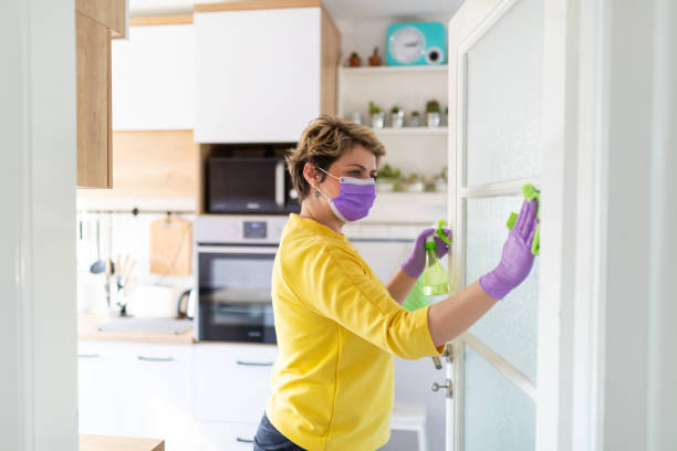 Middle aged woman disinfecting glass on the door stock photo