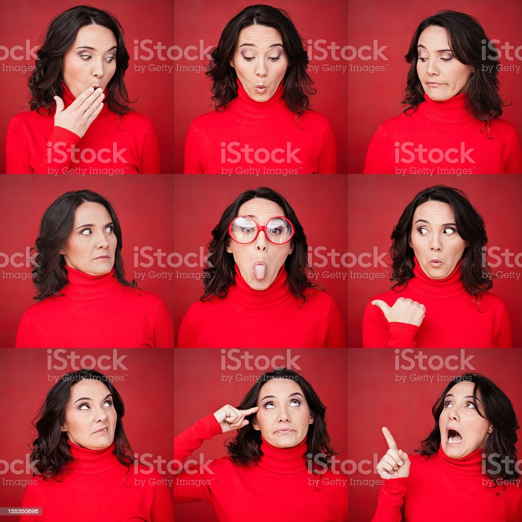 Middle aged woman face expressions. royalty-free stock photo