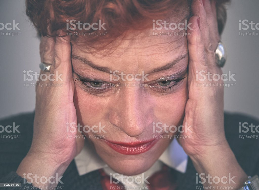 Middle aged woman feeling depressed