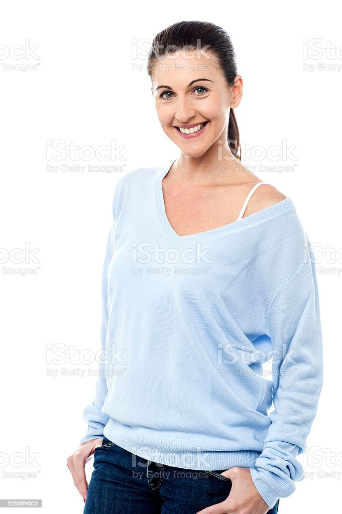 Middle aged woman in trendy outfit royalty-free stock photo