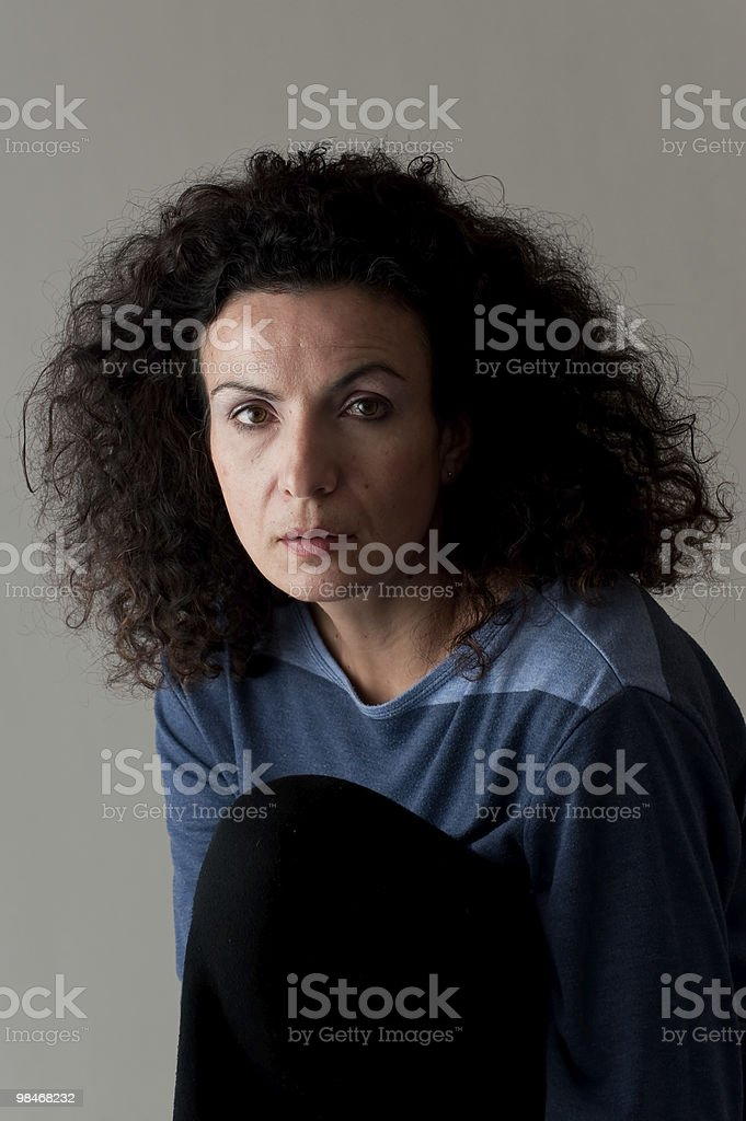 middle aged woman light and shadow royalty-free stock photo