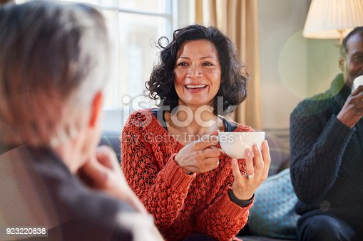 istock Middle Aged Woman Meeting Friends Around Table In Coffee Shop 923220838